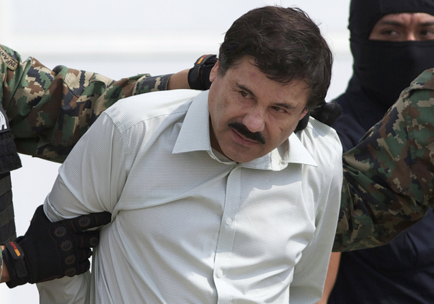 Notorious: Joaquin 'El Chapo' Guzman, pictured after his last arrest in 2014, escaped from a maximum security prison in Mexico. The drugs kingspin is head of the powerful Sinaloa Cartel