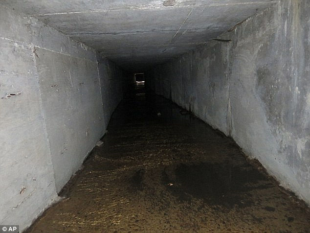 Going underground: Pictured isA interconnected tunnel in a Culiacan drainage system which Guzman used to hide