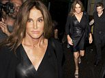 EXCLUSIVE: Caitlyn Jenner wearing a black leather dress and showing Hair extensions seen leaving the world famous Gay club 'The Abbey' in West Hollywood, CA\n