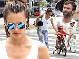 Picture Shows: Alessandra Ambrosio, Noah Ambrosio Mazur, Anja Ambrosio Mazur, Jamie Mazur  July 18, 2015\n \n Model Alessandra Ambrosio and fiance Jamie Mazur take their kids Anja and Noah out for lunch after her yoga class in Brentwood, California. The kids had fun riding their bikes to lunch despite them needing a little help from mom to get across the street.\n \n Non-Exclusive\n UK RIGHTS ONLY\n \n Pictures by : FameFlynet UK © 2015\n Tel : +44 (0)20 3551 5049\n Email : info@fameflynet.uk.com