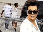 Kris Jenner departs from Burbank airport on a private jet with boyfriend Corey Gamble and daughter Kim Kardashian. Saturday, July 18, 2015 X17online.com