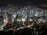 Mandatory Credit: Photo by Paul Brown/REX Shutterstock (1651259b).. Aerial city skyline cityscape view of Seoul with lights at night, South Korea.. Seoul, South Korea - Feb 2012.. ..