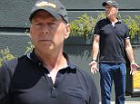Please contact X17 before any use of these exclusive photos - x17@x17agency.com   Bruce Willis lunches with director Len Wiseman at Tavern. A body was found in the pool of former wife Demi Moore's home early this morning but it's been reported no foul play was involved Sunday, July 19, 2015. X17online.com