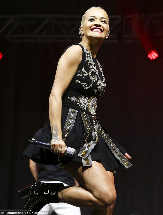 Brave face: Rita took straight to Liverpool's Echo Arena on Saturday night to perform at Radio City's gig... hours after her split from Ricky was announced