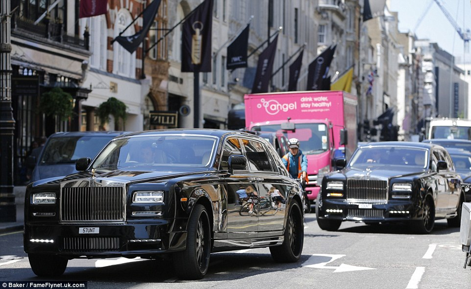 The impressive collection of cars were seen just a few days earlier as Mr Stunt and his vast entourage arrived at the wedding of Nicky Hilton