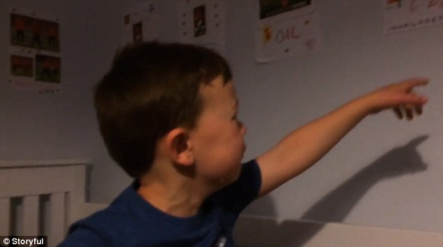 Louis points to the poster of Van Persie after his mum asks him about Van Persie's move to Turkey