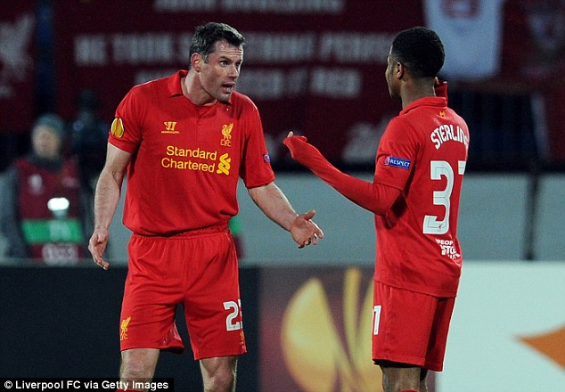 Jamie Carragher (left) and Sterling were team-mates at Liverpool before the former retired in 2013