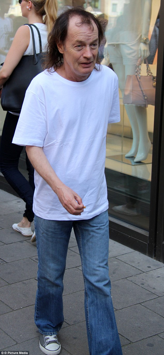 Legend: Dressed in a baggy white T-shirt that was almost too long for his frame, Angus was almost unrecognisable