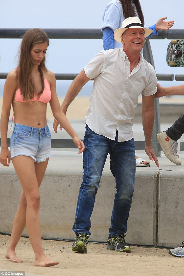 At work: On July 7 the Moonlighting star was seen with a young woman in Venice Beach as he filmed a new movie Going Under