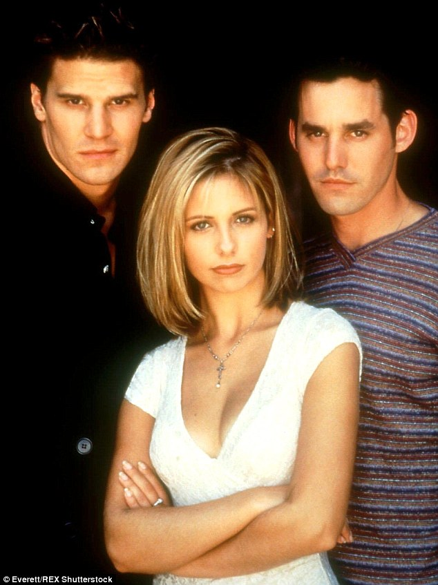 Finding fame: From 1997 to 2003, Brendon played Xander Harris on hit TV show, Buffy The Vampire Slayer pictured here with co-stars  Sarah Michelle Gellar and David Boreanaz