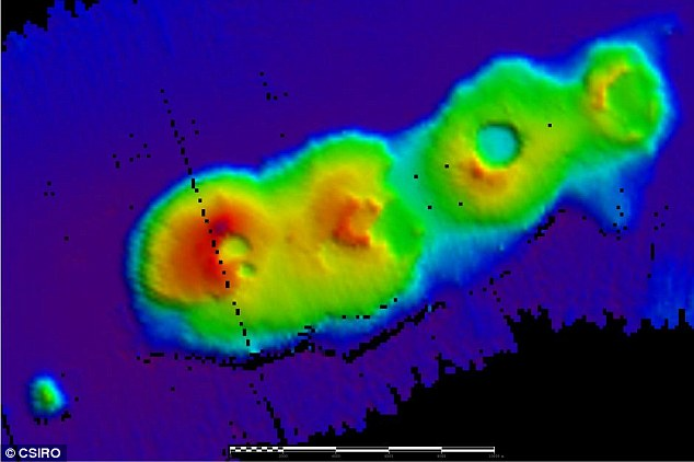 Buried thousands of feet below the water off the coast of Sydney researchers have discovered four extinct underwater volcanoes. The calderas (pictured) are believed to have formed 50 million years ago when supercontinent Gondwana was splitting up into the regions we now know as Australia and New Zealand
