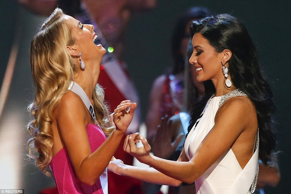 Miss Oklahoma Olivia Jordan (left) reacts next to runner up Miss Texas Ylianna Guerra after Jordan was announced as the winner