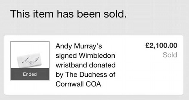 Andy Murray's signed Wimbledon wristband has been sold for £2,100 following a three-day eBay auction
