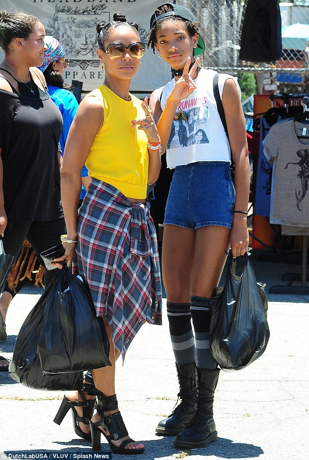 No day off from glam: Jada Pinkett Smith wore four-inch heels to bargain shop with daughter Willow in Hollywood on Sunday