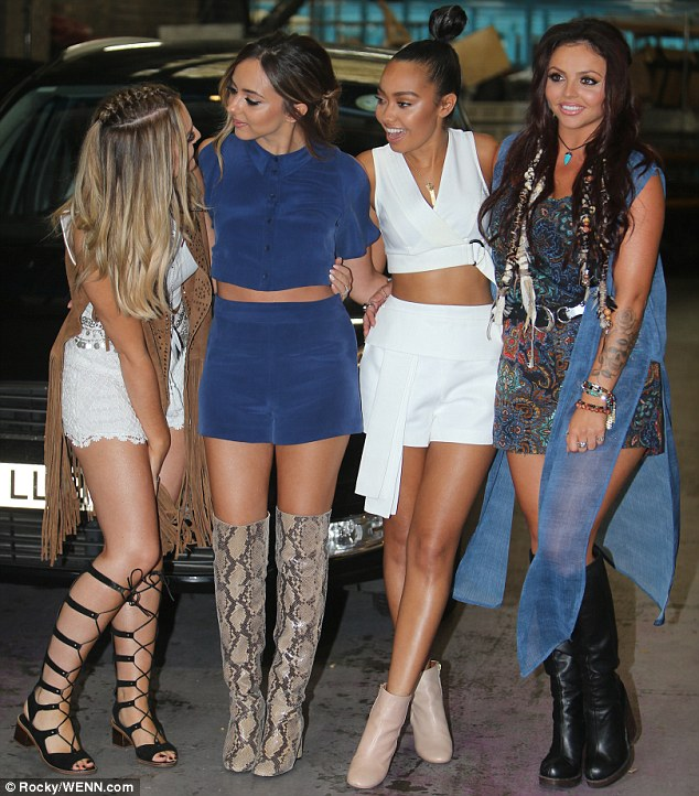 Coordinated: The rest of the girls also had their legs on show, with Leigh-Ann Pinnock opting for a similar outfit to Perrie