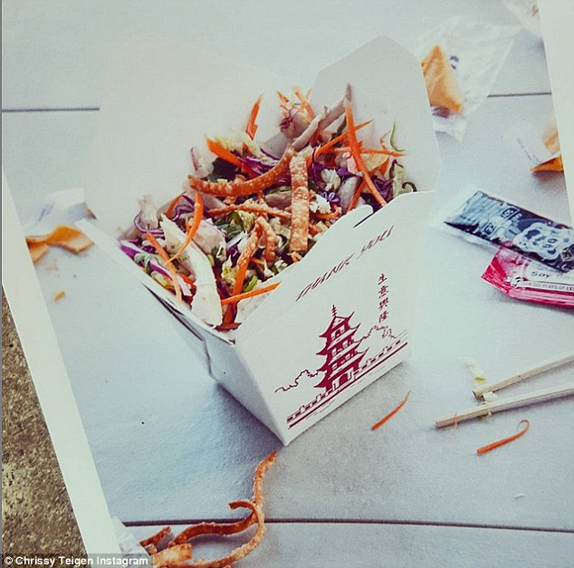Healthy dishes: The star shared a picture of her 'Chinese chicken salad' in a takeout container