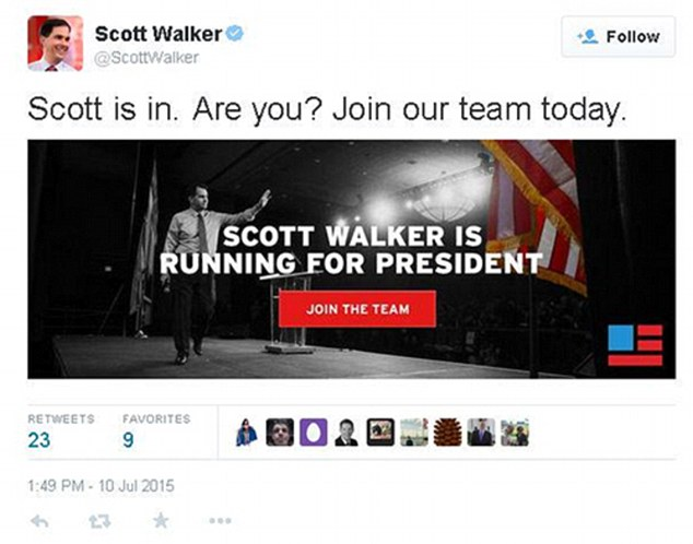 Jumped the gun:Scott Walker's Twitter account stole his thunder Friday and announced his presidential run - apparently by accident