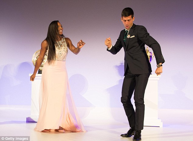 The player showed off some of her dance moves with men's champion Novak Djokovic at the dinner