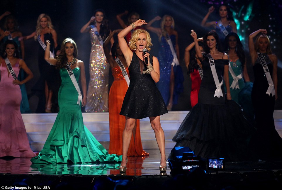 Singer Adley Stump performs during the evening gown segment of the 2015 Miss USA pageant in Baton Rouge on Sunday