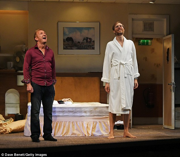 Curtain call: Stephen Merchant and co-star Steffan Rhodri prepare to take a bow for their audience