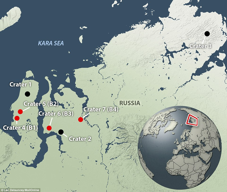 This map shows the location of the craters discovered so far in the Yamal region of Russian Siberia. The crater labelled B1 has been found to be nearly 200 feet deep while crater B2, which is 13 miles from B1, is already forming into a lake