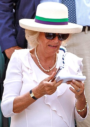 The Duchess of Cornwall was given the sweat-soaked souvenir when it fell in to the Royal Box