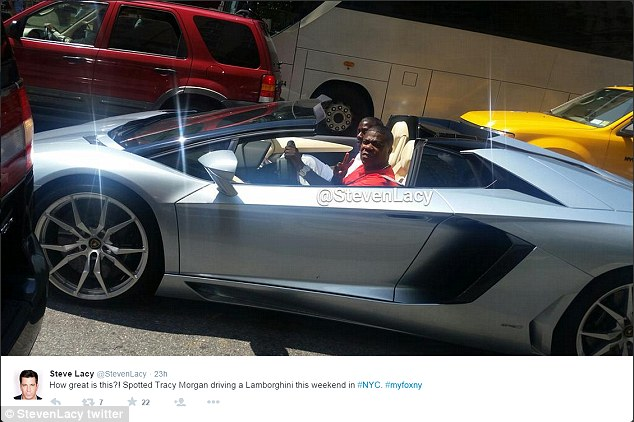 Behind the wheel: Tracy Morgan was spotted by Steve Lacy driving a Lamborghini in New York City on Saturday, just over one year after his car accident in New Jersey that claimed the life of a man