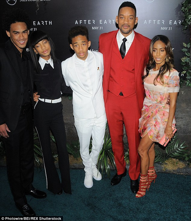 A family affair: Smith is all smiles while at the After Earth Premiere with her family; (from left to right) Will's son Trey, 22, Willow, 14, Jaden, 17, Will, 46 and Jada