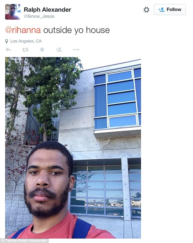 Shocking: OnApril 30, 2015, the alleged stalker posted a selfie claiming to be in front of Rihanna's home