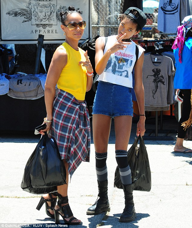 Mother daughter duo: The pair left with bags full of bargain clothes after a day of shopping at the Hollywood flea market