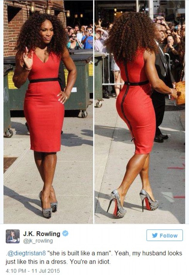 JK Rowling lept to Serena's defence with this Tweet when a troll said the tennis player is 'built like a man'