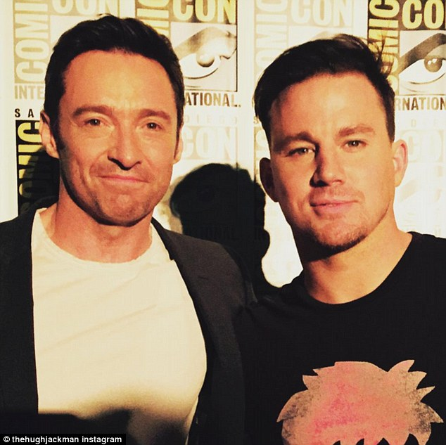 Hey Mate! Hugh Jackman took a moment to pose for a photo with Channing Tatum at the 2015 Comic-Con