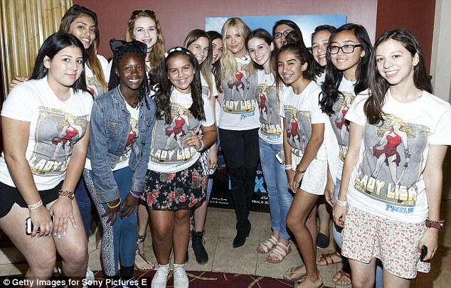 Hanging with the girls: She was joined by an group of excited fans from the audience who had entered a draw for a chance to win a ticket to the screening, a T-shirt and a pass for BeautyCon