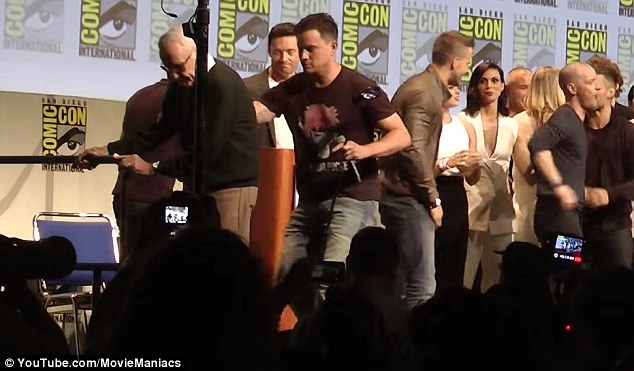 Helping hand: Channing Tatum was seen helping Stan Lee at Comic-Con on Sunday