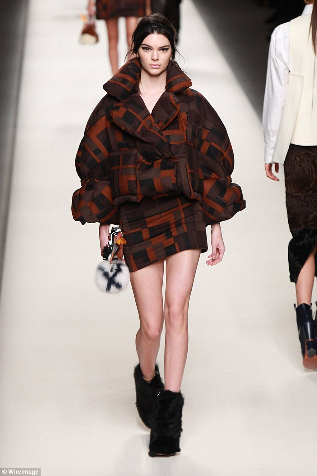 Fashion flop? Commentators on The Fashion Spot called the new Fendi ad 'hands down the worst Fendi campaign I've seen in awhile' (pictured: Kendall walking the fall 2015 Fendi fashion show)