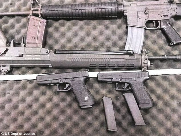 A Colt AR-15 .223 caliber rifle, a SigArms Model SG550-1, 556 caliber rifle, a Glock 17-9mm pistol, and a Glock 20-10 mm pisto he was having delivered