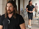 Christian Bale sporting the Jesus look as he stops by a jewelry store in Brentwood. July 20, 2015 X17online.com