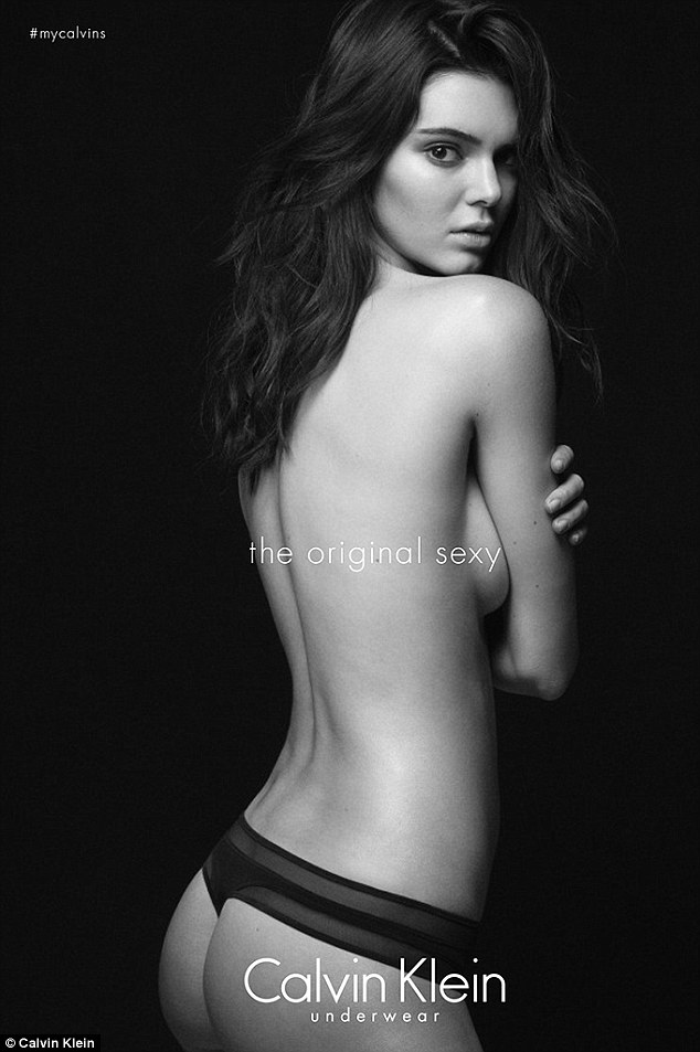 Strike a pose: Kendall also appears in Calvin Klein's latest underwear campaign, for which she posed topless