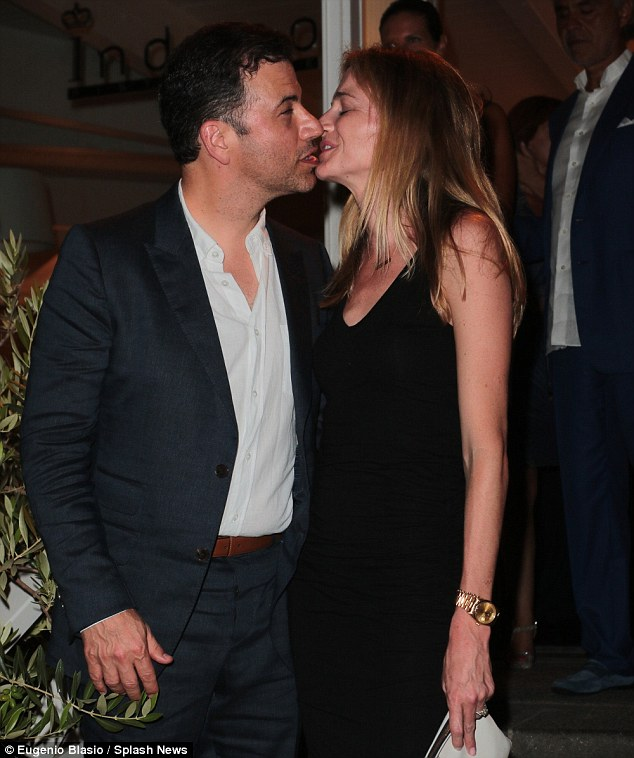 Nailed it: Kimmel, 47, seemed on target the second time around although he looked as if he was aiming more for his wife's chin than her lips