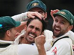 Australia bowler Mitchell Johnson celebrates taking the wicket of England batsman Joe Root  during day two of the Second Investec Ashes Test at Lord's, London . PRESS ASSOCIATION Photo. Picture date: Friday July 17, 2015. See PA story CRICKET Australia. Photo credit should read: Nick Potts/PA Wire. RESTRICTIONS: Editorial use only. No commercial use without prior written consent of the ECB. Still image use only no moving images to emulate broadcast. No removing or obscuring of sponsor logos. Call +44 (0)1158 447447 for further information