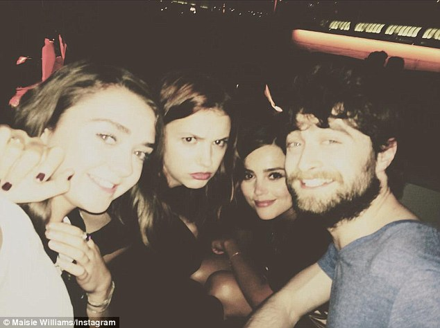 'This photo is gonna make the world implode': Game of Thrones' star Maisie Williams made magical world collide on Sunday in an Instagram selfie with Daniel Radcliffe, Jenna Coleman and Hannah Murray