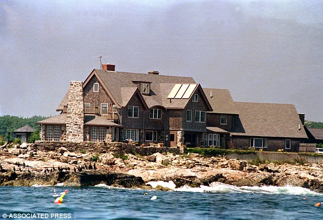 Plush: Guests were treated to cocktails and given a tour of the Bush family home in Kennebunkport, Maine (pictured) as part of the event, before Jeb Bush gave a speech on the rocks and bought them lobster rolls
