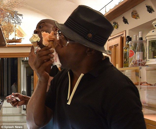 Gelato guys: Magic Johnson and Samuel L. Jackson picked up some Italian ice cream during a visit to Portofino during their luxury yacht vacation
