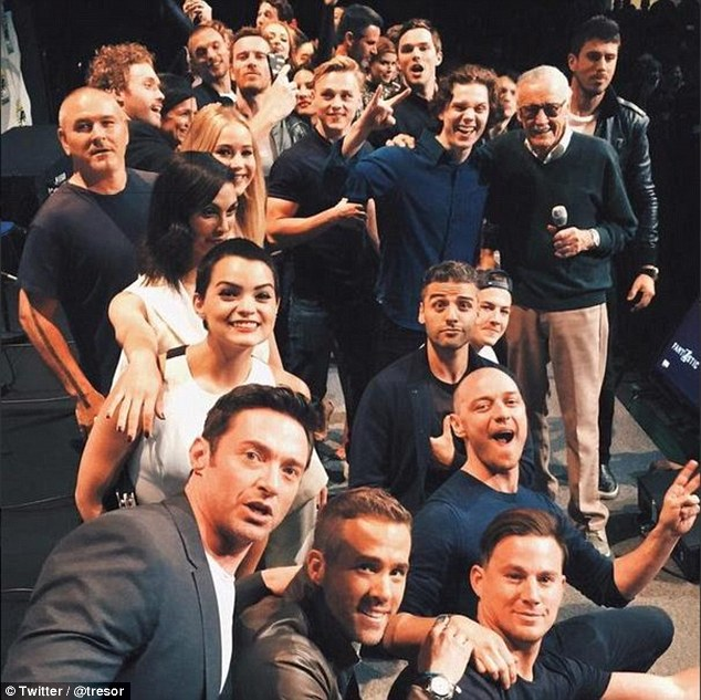 Super selfie: It seems off screen there is no rivalry between any of the superheroes at Comic-Con, as all of the Marvel heroes who attended the event posed for what is being called the greatest superhero selfie of all time
