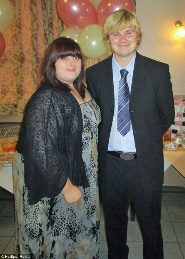 Emily says that she always struggled with her weight and was bullied from a young age leading her to comfort eat on puddings and biscuits. Pictured here with boyfriend Jamie Jones