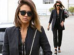 """Picture Shows: Jessica Alba  July 20, 2015    """"Sin City"""" star Jessica Alba runs errands in Culver City, California. Jessica was looking smart for her outing in a black pantsuit and black heels. It was recently announced that her Honest Company will soon be opening up kiosks in five airports across the United States.    Exclusive All Rounder  UK RIGHTS ONLY    Pictures by : FameFlynet UK © 2015  Tel : +44 (0)20 3551 5049  Email : info@fameflynet.uk.com"""