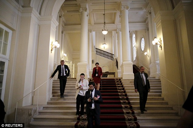 Luxury: Grim-faced foreign ministers declined to answer questions about another possible extension as they gathered for a group meeting at the 19th century palace (pictured) that has been hosting the talks
