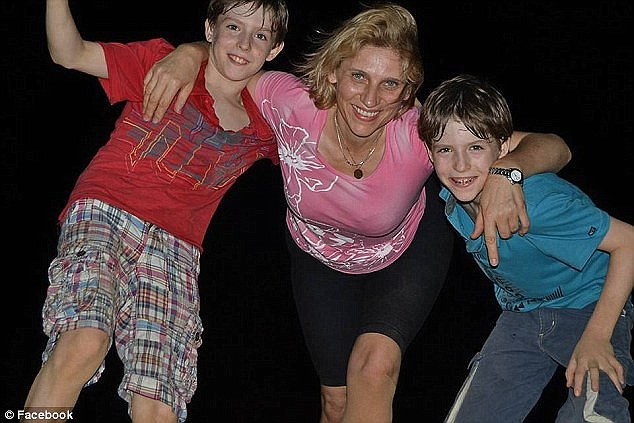 Ibolya Ryan with her twin sons Adam and Aiden, who were waiting for her  in the Boutik Mall on Reem Island