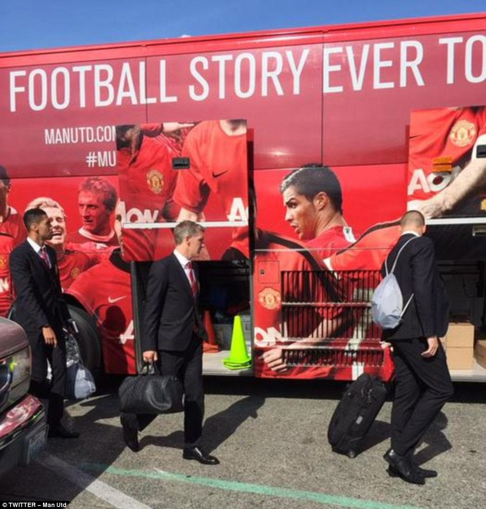 Schweinsteiger (centre) was among the new Manchester United signings touching down in Seattle on Monday