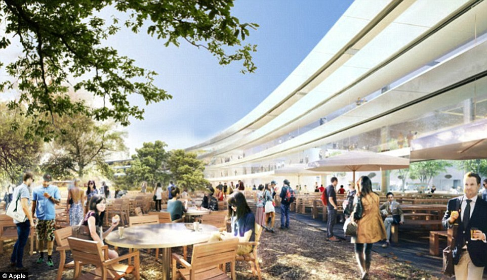 The cafeteria will additionally feature an outside dining and picnic area (pictured). Apple's Campus 2 additionally comes with a fitness centre in the northern part of the building